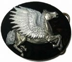 Pegasus Belt Buckle with display stand. Code BK3